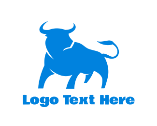 Buffalo - Blue Looking Bull logo design