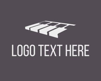 Musical Note - White Piano logo design