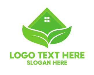 Yard Care - Green House Leaves logo design