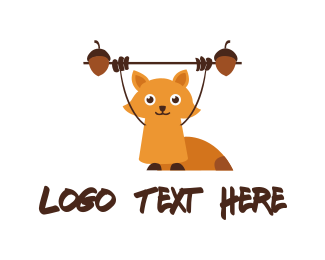 Acorn - Fitness Cute Squirrel logo design