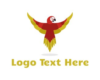 Macaw - Red Parrot logo design