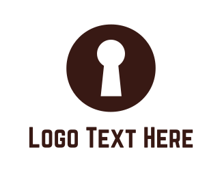 Key - Brown Keyhole logo design