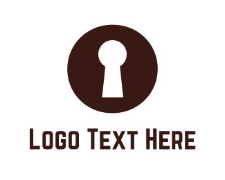 Safe - Brown Keyhole logo design