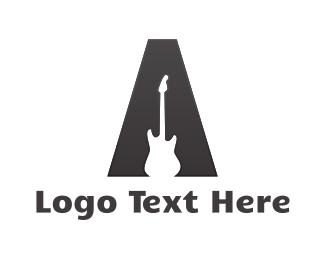 Guitarist - Guitar Letter A logo design
