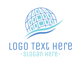 World - Blue Global Waves logo design