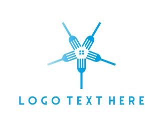 Eat - Fork Circle logo design