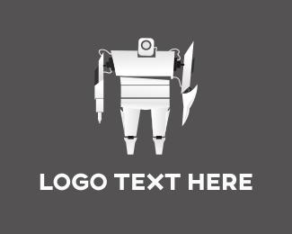 Cyber - White Robot logo design