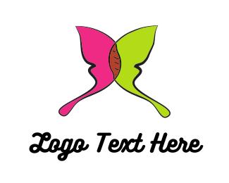 Painter - Green & Pink Butterlfy logo design