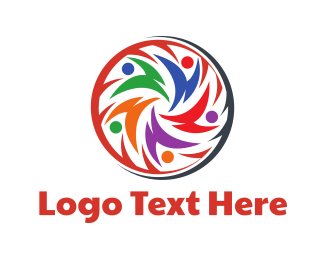 Crowd - Colorful Team  logo design