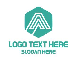 Hexagonal - Mint Letter A logo design