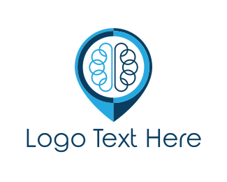 Psychology - Brain Pin logo design