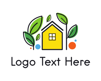 Garden Yellow House Logo Maker
