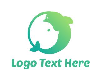 Dolphin - Green Rabbit Dolphin  logo design