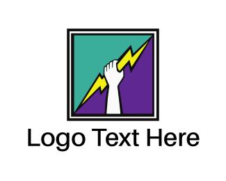 Politics - Thunderbolt Hand Square logo design