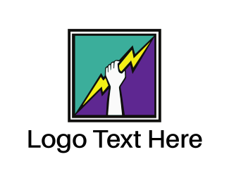 Olympic - Thunderbolt Hand Square logo design