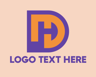Stroke - Purple DH Symbol   logo design