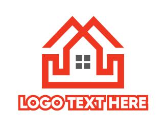 Duplex - Red Duplex House logo design