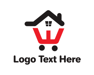 Apartment - House Cart Outline logo design