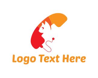 Call - Cat Phone logo design