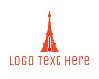 Heat - Hot Eiffel Tower logo design
