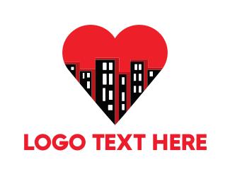 Metropolis - Buildings & Heart logo design
