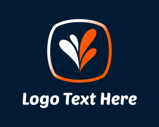 Plant - White & Orange Leaves logo design