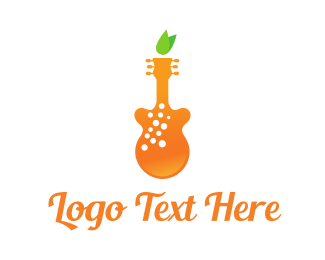 Guitar - Orange Juice Music logo design