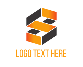 Construction - Orange Geometric Loop logo design