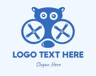 Helicopter - Blue Hippo Drone logo design