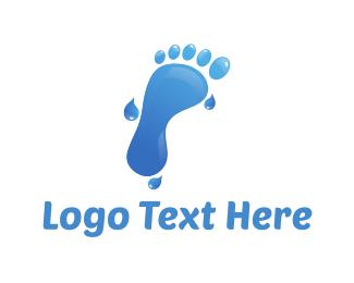Wet - Water Foot logo design