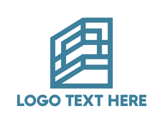 Land - Blue Shelf Frame House logo design