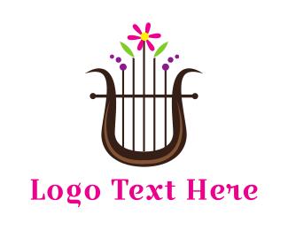 String - Floral Harp logo design