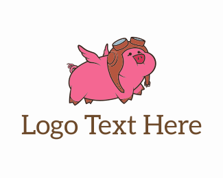 Piglet - Flying Pig Pilot logo design