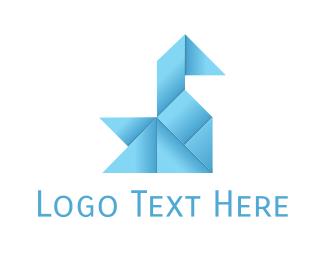Powerful - Swan Oragami logo design