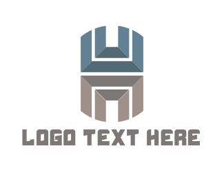 Gym - Metallic Letter H logo design