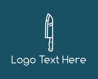 Cut - White Knife logo design