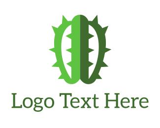 Artificial Intelligence - Brain Cactus logo design