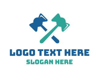 Gavel - Gavel Axe Cross logo design