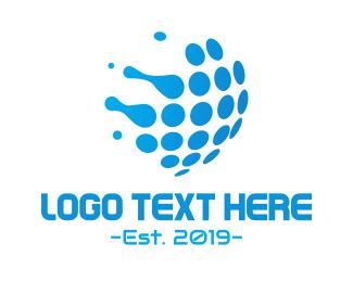 Dot - Aqua Globe logo design