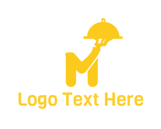 Food Delivery - Tray Letter M logo design