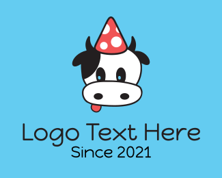 Cow - Cow Party Hat logo design