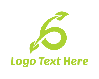 Number 6 - Green Vine Six logo design