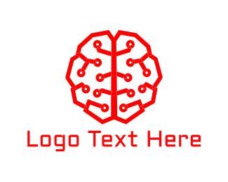 Neural Networks - Artificial Intelligence Brain logo design