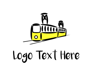 Railway - Yellow Tram logo design