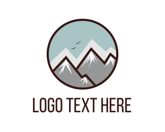 Everest - Mountain Circle logo design