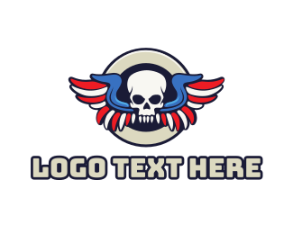 Corps - Tribal Skull Wing logo design