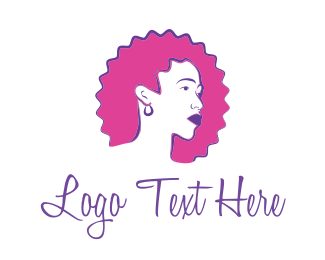 Curly - Curly Pink Hair logo design