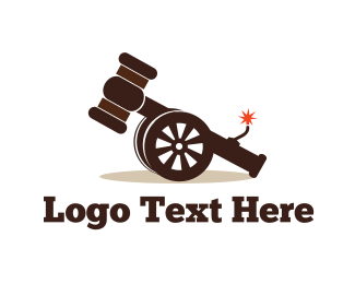 Gavel - Cannon Hammer logo design