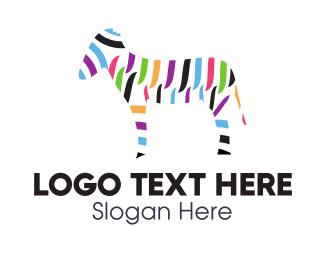 Pony - Colorful Zebra logo design