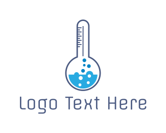Temperature - Blue Lab Thermometer logo design